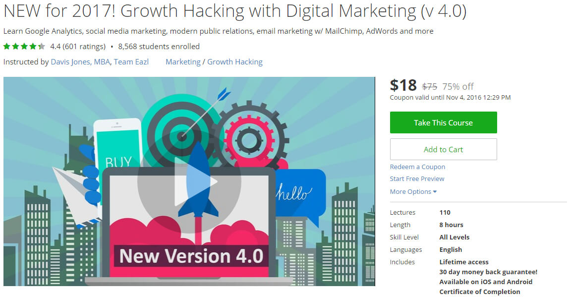 NEW for 2017! Growth Hacking with Digital Marketing (v 4.0)