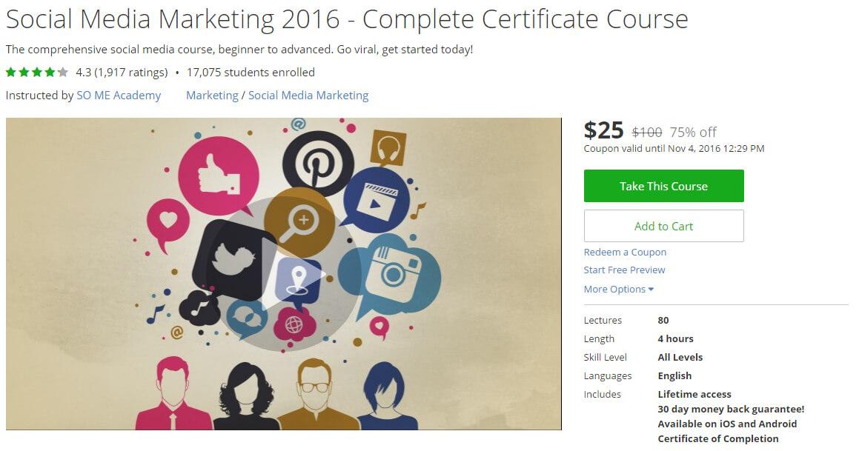 Social Media Marketing 2016 - Complete Certificate Course