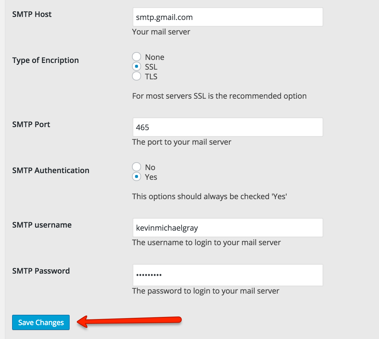 gmail smtp setting wp